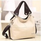 PU Leather bags women messenger bag grafting Vintage Shoulder Handbag Beige