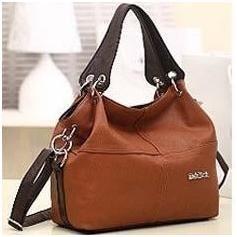 PU Leather bags women messenger bag grafting Vintage Shoulder Handbag Brown