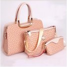Elegant Womens PU Handbag Printing Shoulder Bags Three Bags Composite Bags Pink