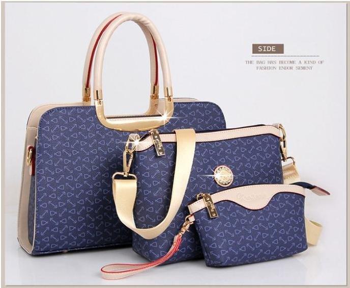 Elegant Womens PU Handbag Printing Shoulder Bags Three Bags Composite Bags Blu