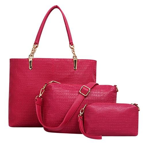 Womens Bags Three Packages Alligator Tote PU Shoulder Cross Body Bag RED