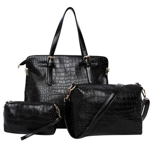 Ladies Bags Womens Bags Alligator Three Packages Tote PU Shoulder Messenger Bag Black