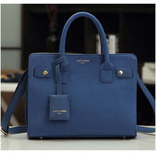 leather handbag single shoulder bag women messenger bag fashion blu