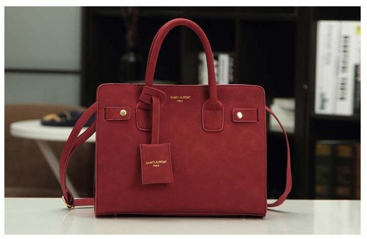 leather handbag single shoulder bag women messenger bag fashion Red