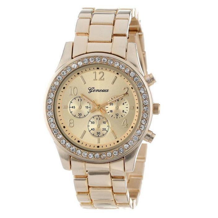 Quartz Watch Men Women Faux Chronograph CRT Plated Geneva Rose Gold Color