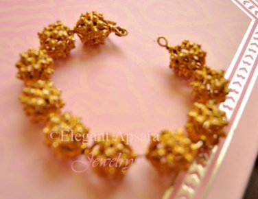 Khmer Gold Large Spacer Beads Balls Chucky Bangle Bracelet Traditional Wedding Jewelry Cambodian