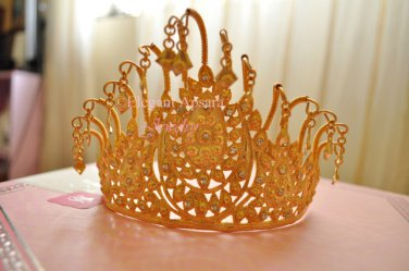 Khmer Cambodian Gold Tiara Crown Wedding Engagment Handcrafted Vintage Ancient Style Cambodia