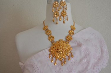 Khmer Cambodian Gold Necklace and earrings Khmer Traditional Dance Wedding
