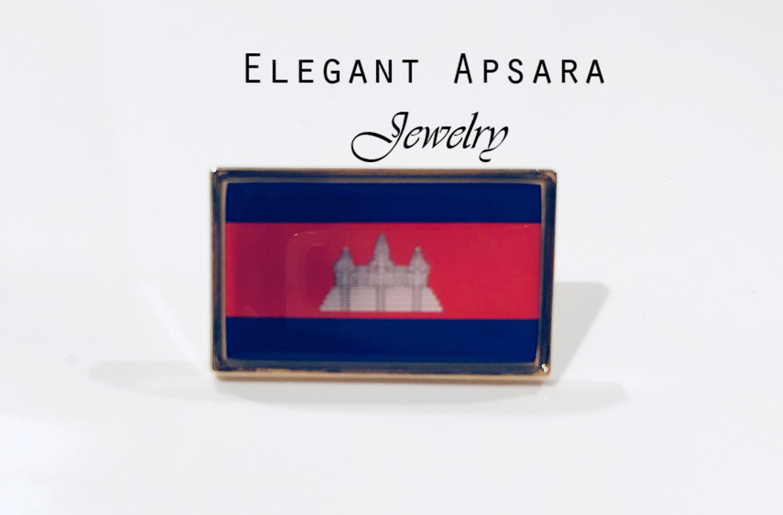 CAMBODIA KHMER Flag Brooch Pin