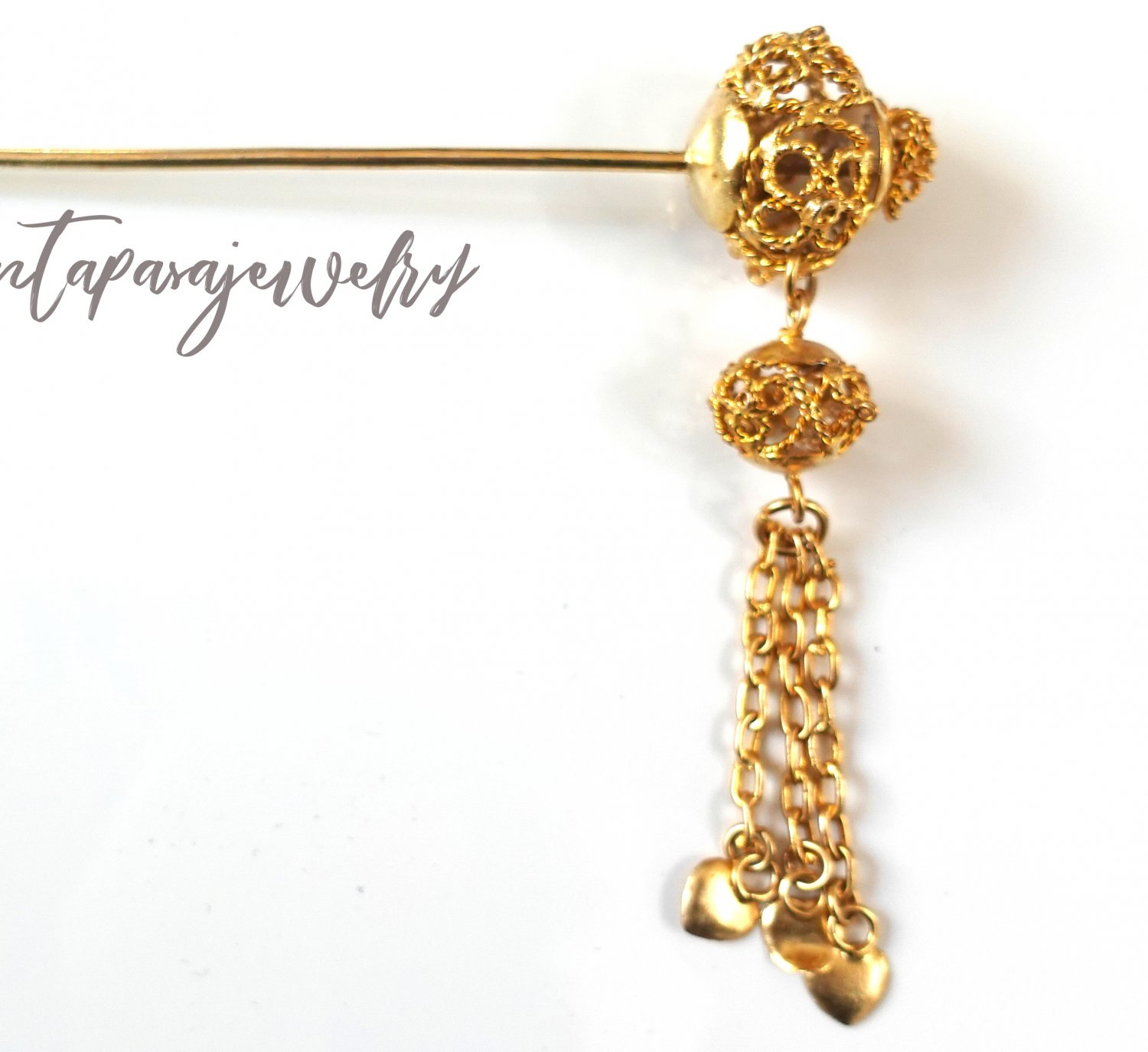 Khmer Cambodian Gold Hair Pin Accessories Wedding Engagement Handcrafted Dance or Wedding