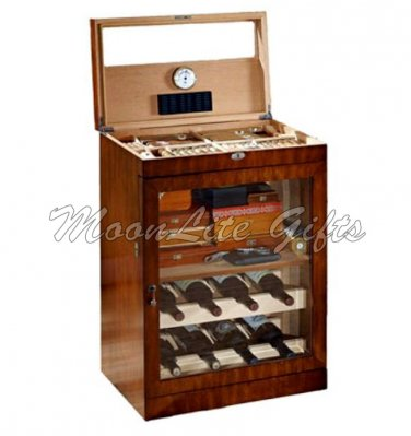 Large Mahogany Finished Cigar Humidor And Liquor Cabinet Lined With Spanish  Cedar