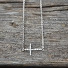 Sterling Silver 16 Inch Cubic Zirconia Sideways Cross Necklace with Extension