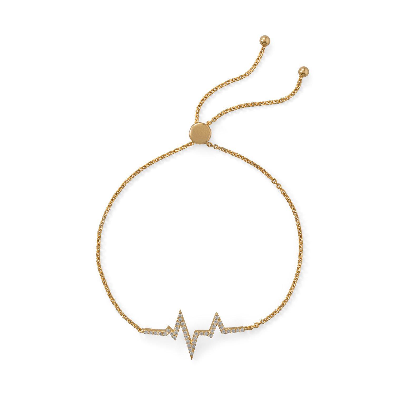 Sterling Silver Adjustable 14K Gold Plated CZ Heartbeat Friendship Bolo Bracelet