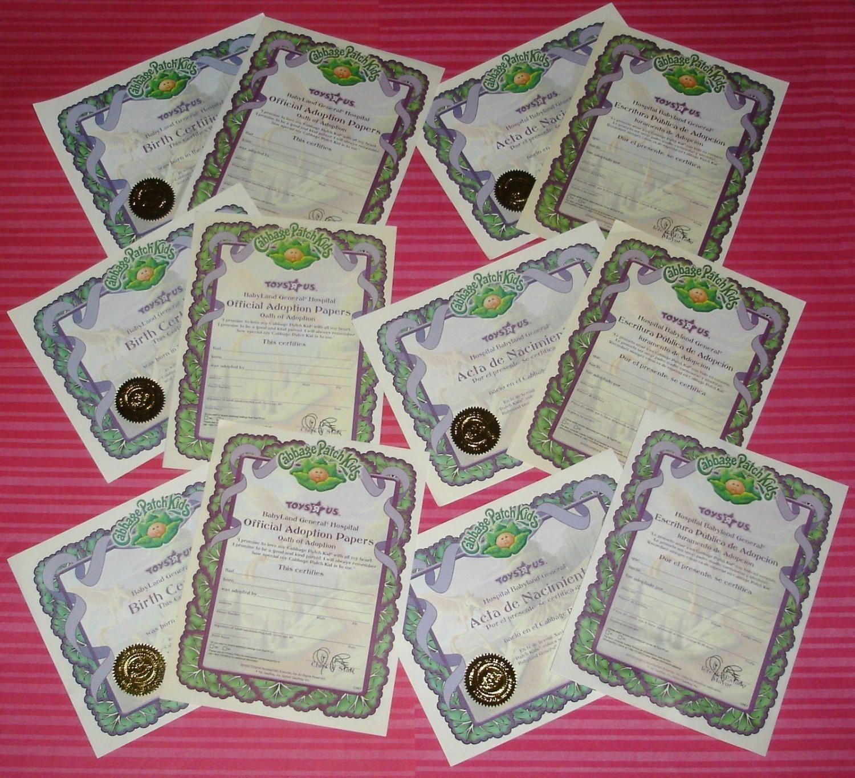 Cabbage Patch Kids Large TRU Doll Blank Birth Certificates