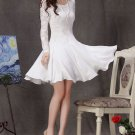 Long Sleeve White Lace Dress - Fit and flare dress - Little White Dress CD2