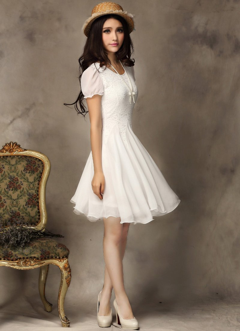 White Lace Dress - Fit and flare dress - Little White Dress CD2