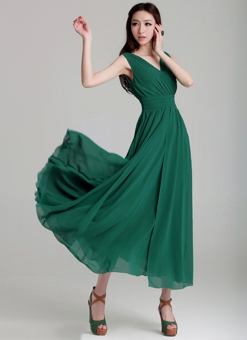 V Neck & V Back Green Maxi Dress with Ruched Waist Yoke