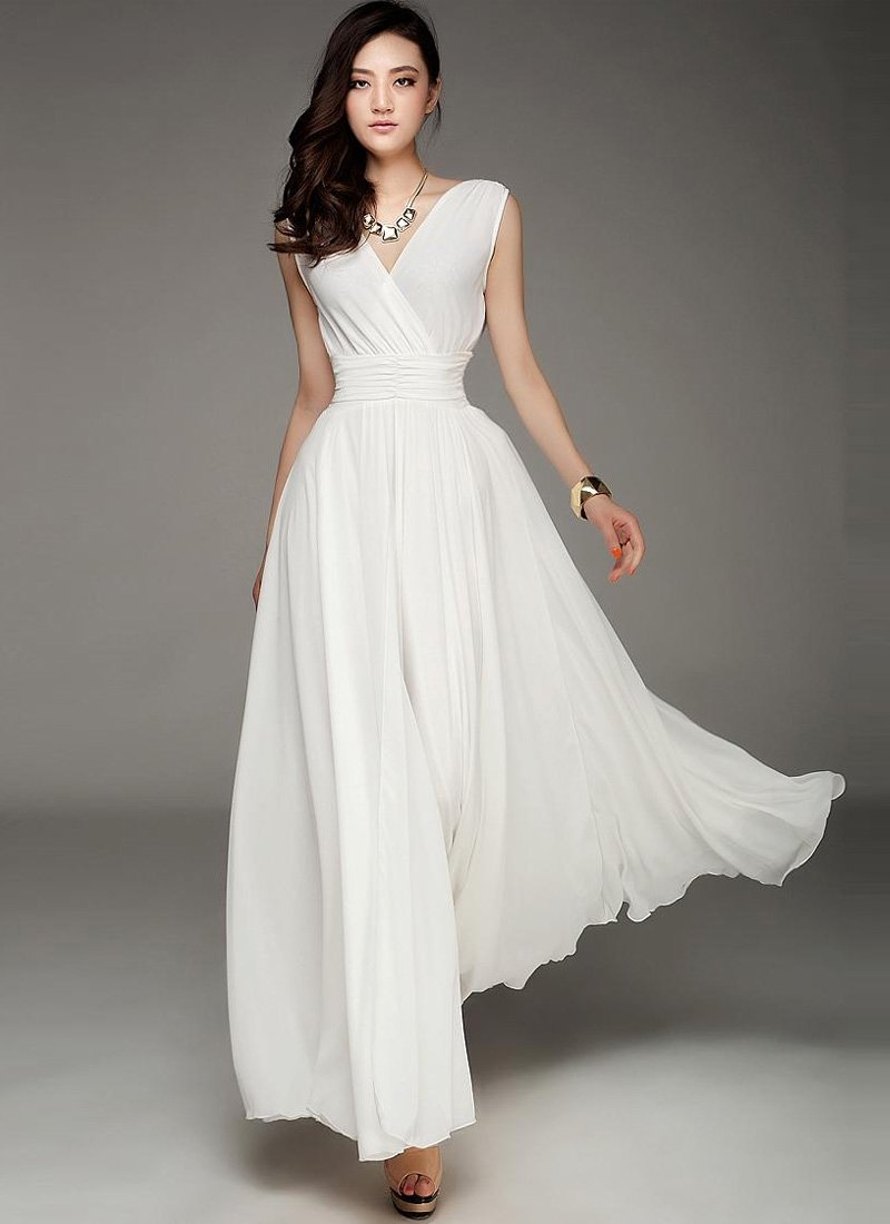 V Neck & V Back White Maxi Dress with Ruched Waist Yoke RM53