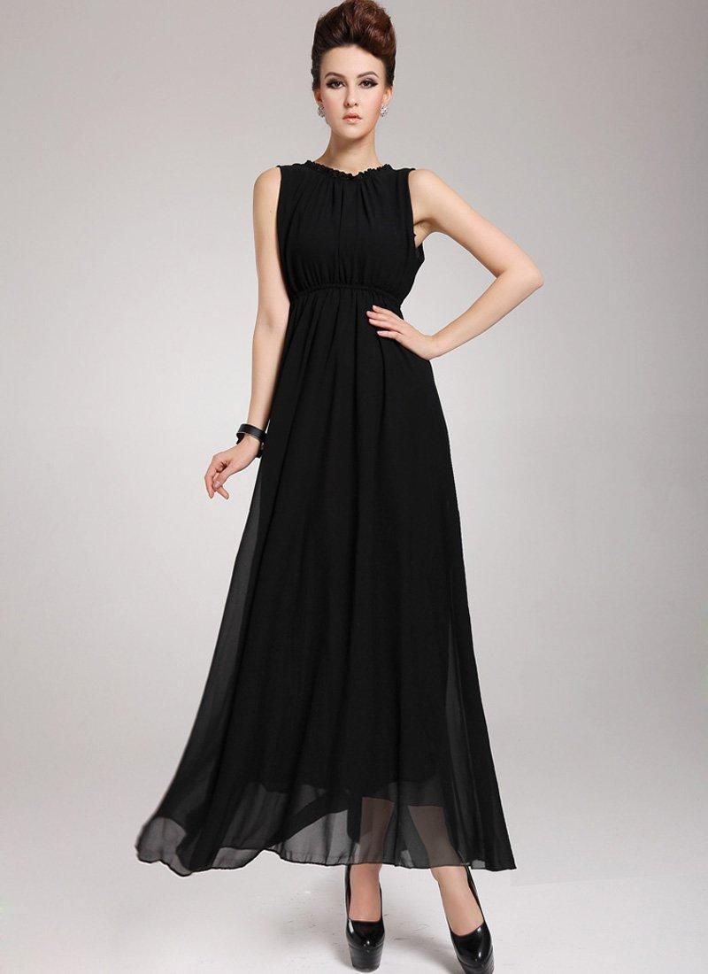 Black Maxi Dress with V Back Design RM 44