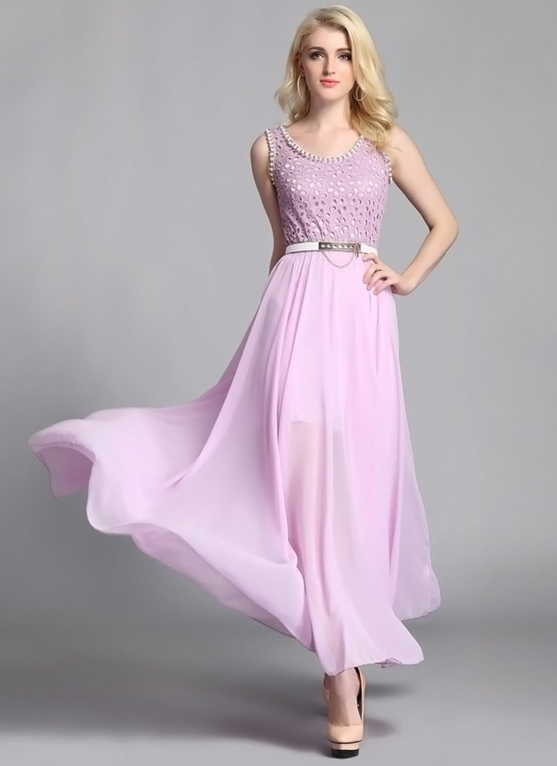 Violet Lace Chiffon Maxi Dress with Bead Embellishment RM50