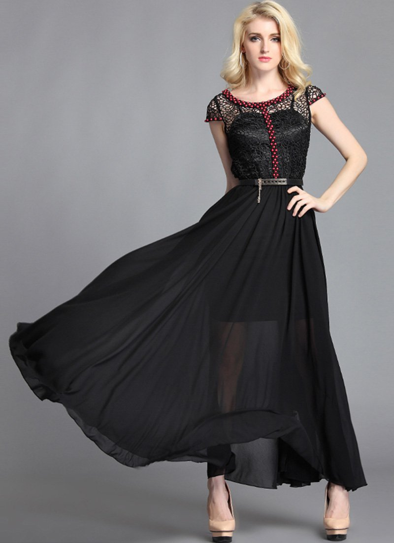 Black Lace Chiffon Maxi Dress with Red Bead Embellishment RM63