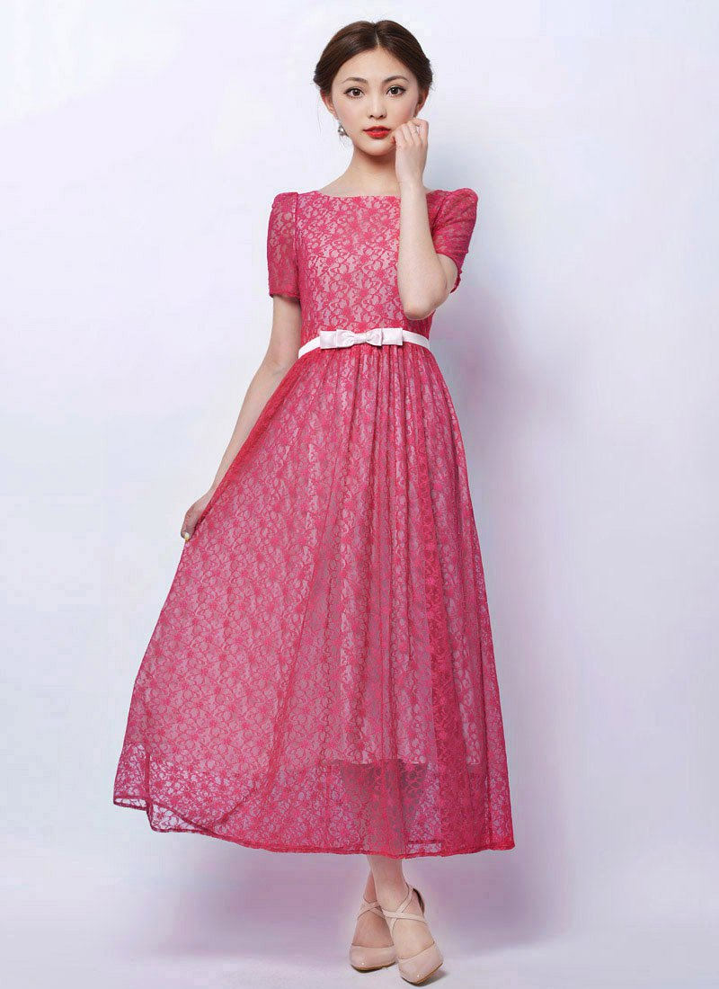 Fuchsia Lace Maxi Dress with Dusty Rose Pink Bow Belt RM79