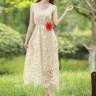 Beige Sunflower Lace Midi Dress with Daisy Lace Trim Details RM101