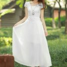 White Lace Peplum Maxi Dress with Cap Sleeves RM109