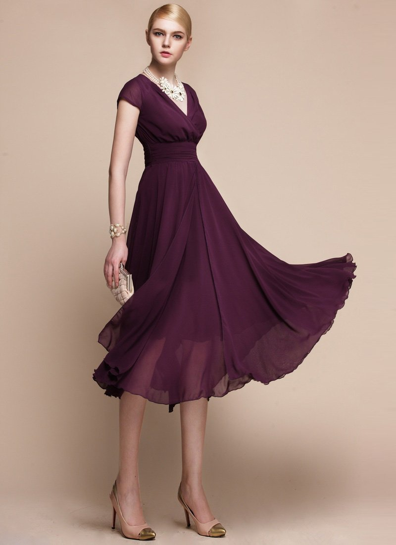 V Neck Purple Midi Dress with Layered Skirt and Ruched Waist Yoke RM114