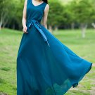 V Neck Teal Maxi Dress with Free Satin Sash RM124