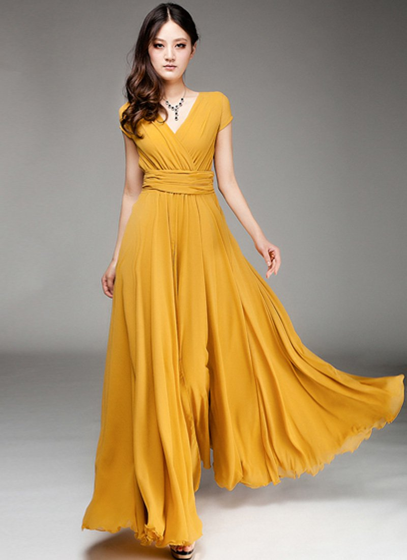 Cap Sleeve Ginger Yellow Maxi Dress with V Neck & Ruched Waist Yoke RM157