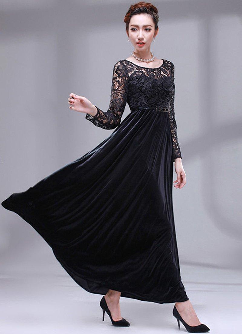 Long Sleeved Black Lace Velvet Maxi Dress RM158