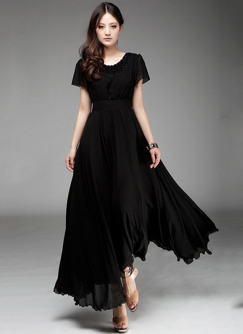 Black Maxi Dress with Floral Appliqué Lace Neck RM160