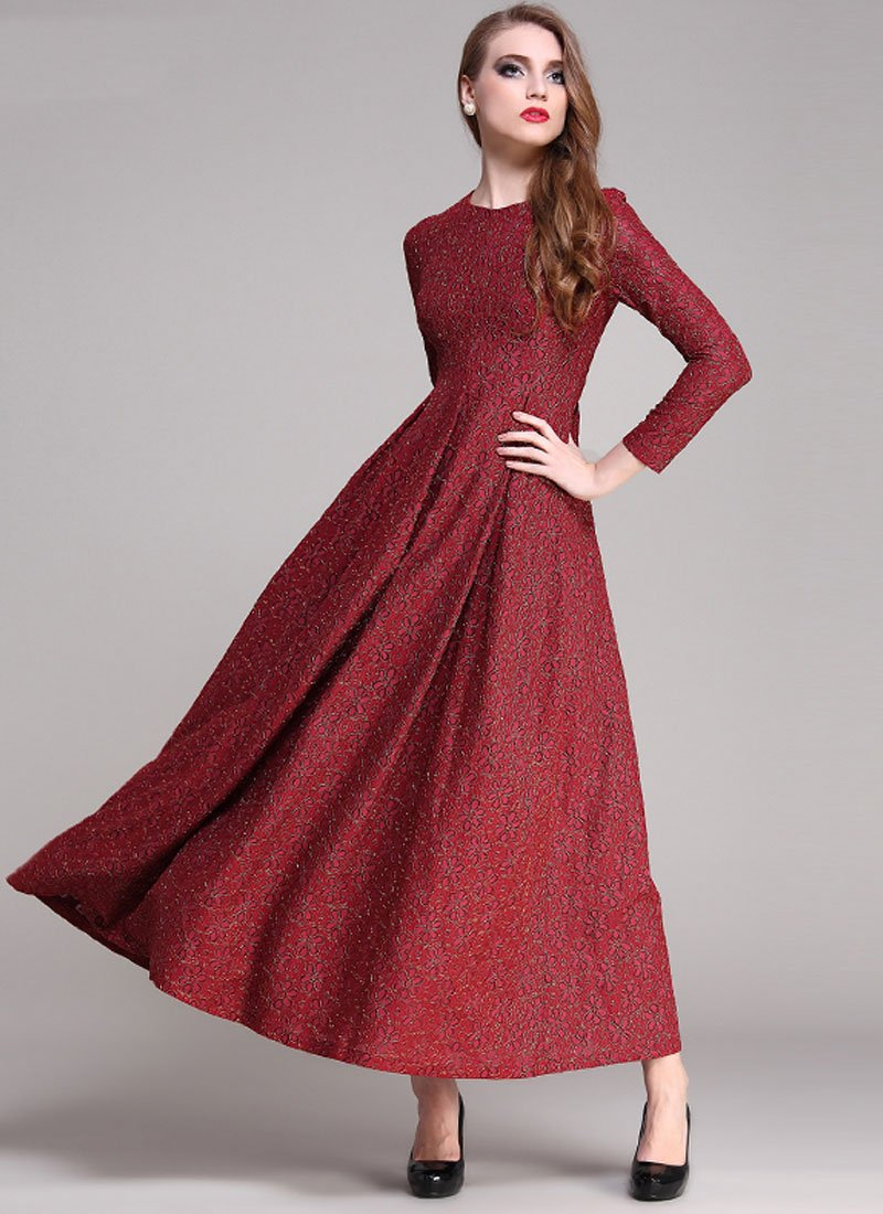Gold Gilded Maroon Lace Maxi Dress with Long Sleeves RM191