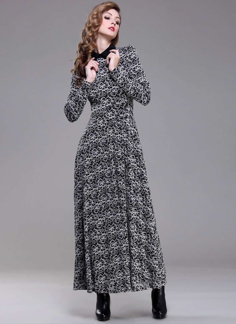 Black and White Lace Maxi Dress with Shirt Collar RM193