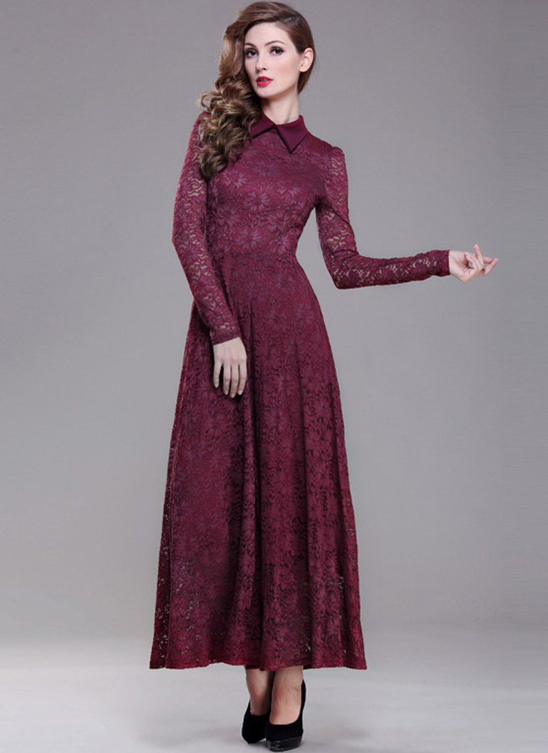 Maroon Lace Maxi Dress with Shirt Collar RM193