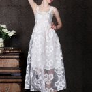 White Lace Maxi Dress with Floral Embroidery RD96