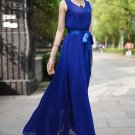 V Neck V Back Blue Chiffon Maxi Dress with Satin Sash RM195