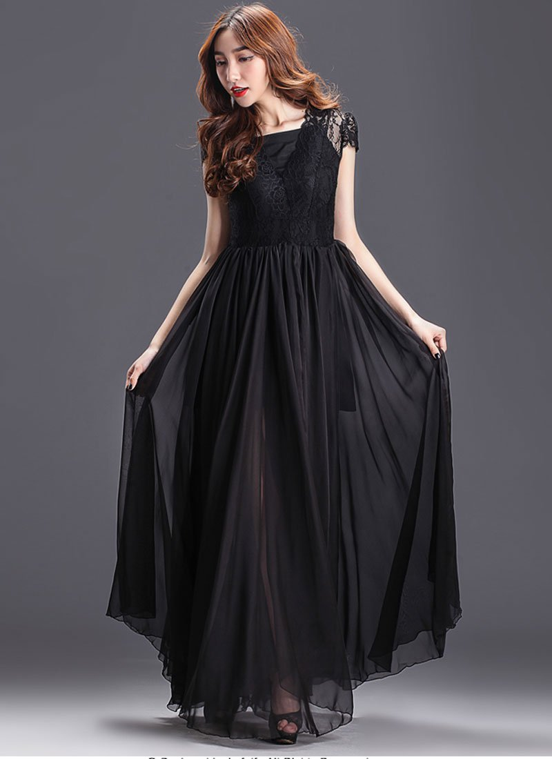 Black Maxi Dress with Lace Overlay and Cap Sleeves RM205