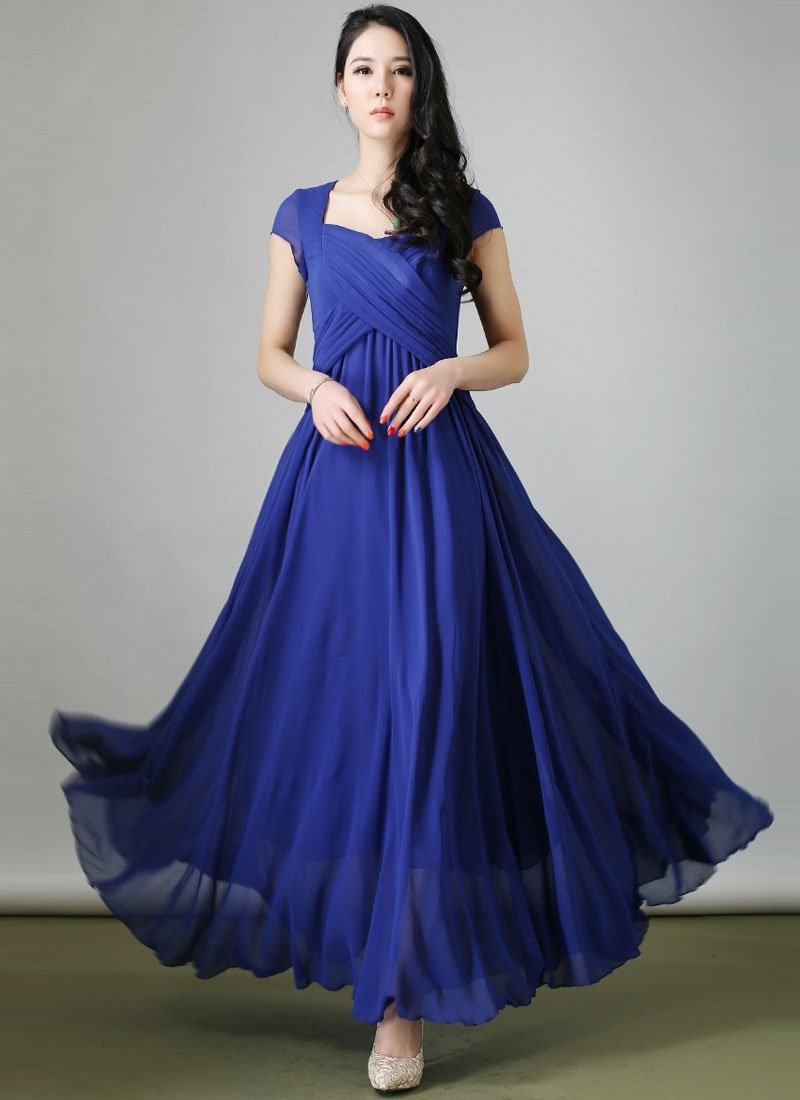 Royal Blue Maxi Dress with Cross-over Pleated Bodice and Modified Sweetheart Neck RM213