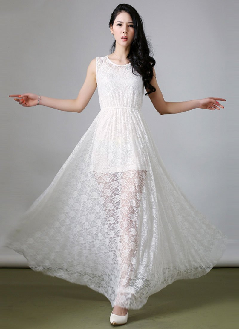Sleeveless White Floral Lace Maxi Dress with Short Slip with Spaghetti Straps RM215