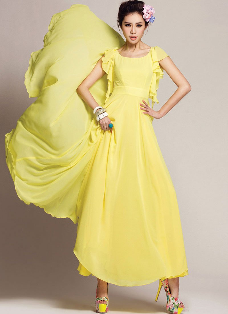 Yellow Maxi Dress with Waist Yoke and Modified Flutter Sleeves RM219