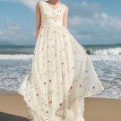 Floral Embroidered Lace Maxi Dress with Draw String Waist Yoke RM222