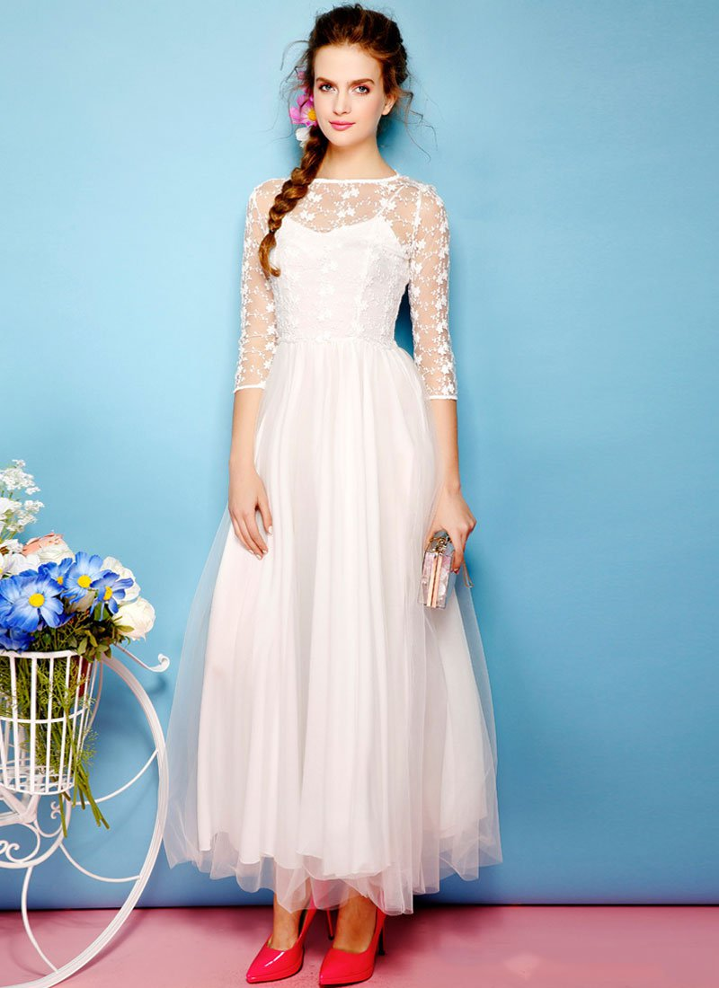 White Embroider Lace Maxi Dress with Tulle Overlay RM224
