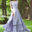 Lavender Purple Maxi Dress with Tiered Skirt RM230