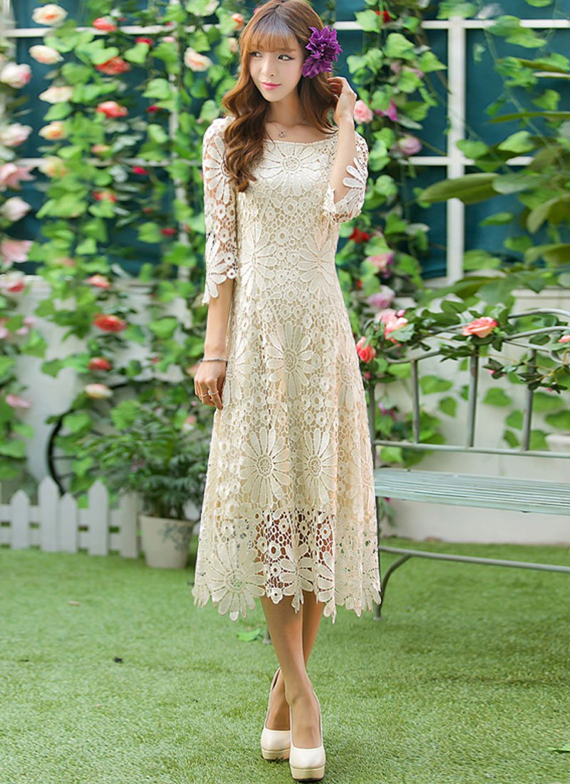 Beige Sunflower Lace Midi Dress with Raglan Sleeves and Asymmetric Hem RM237
