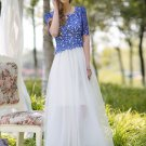 Contrast Color Lace Chiffon Maxi Dress with Blue Top and White Skirt RM248