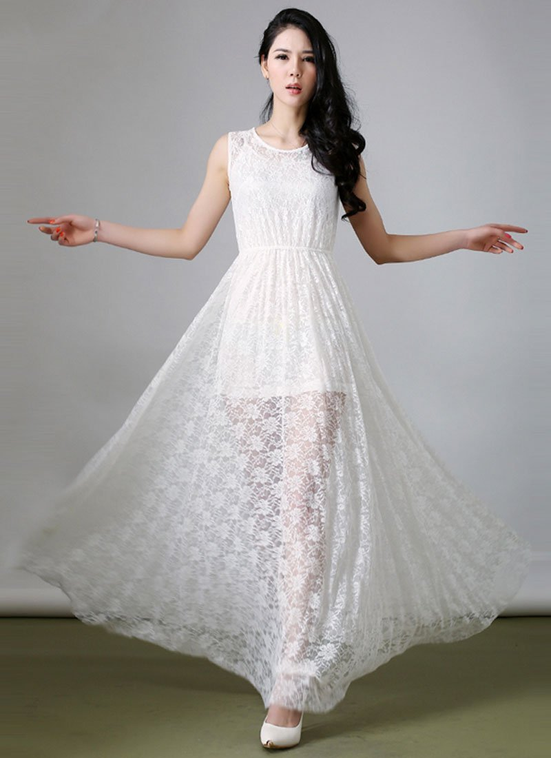 Sleeveless White Lace Maxi Dress with Free Slip RM261
