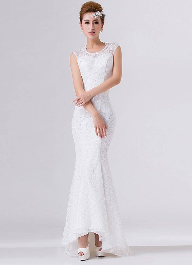 White Lace Mermaid Maxi Dress with Open Back RM279
