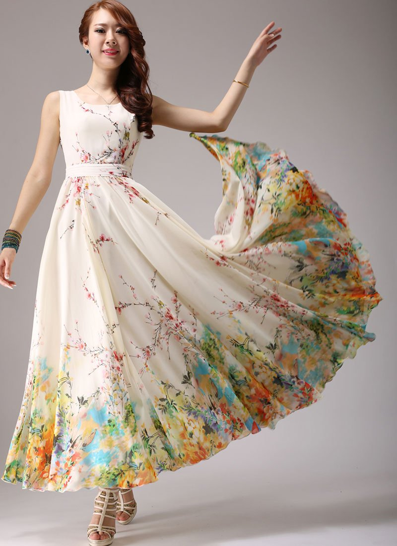 Light Yellow Maxi Dress with Colorful Floral Printed Hem RM292